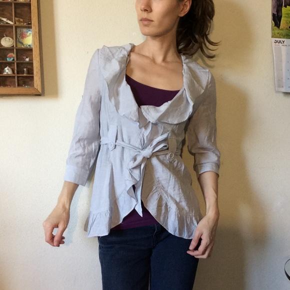Francesca's Collections Jackets & Blazers - Countess Slate Grey Sheen Ruffle Blazer